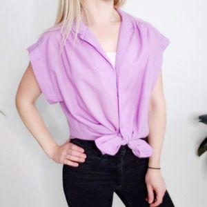 70-80s Vintage Purple Button Up Blouse Top Short